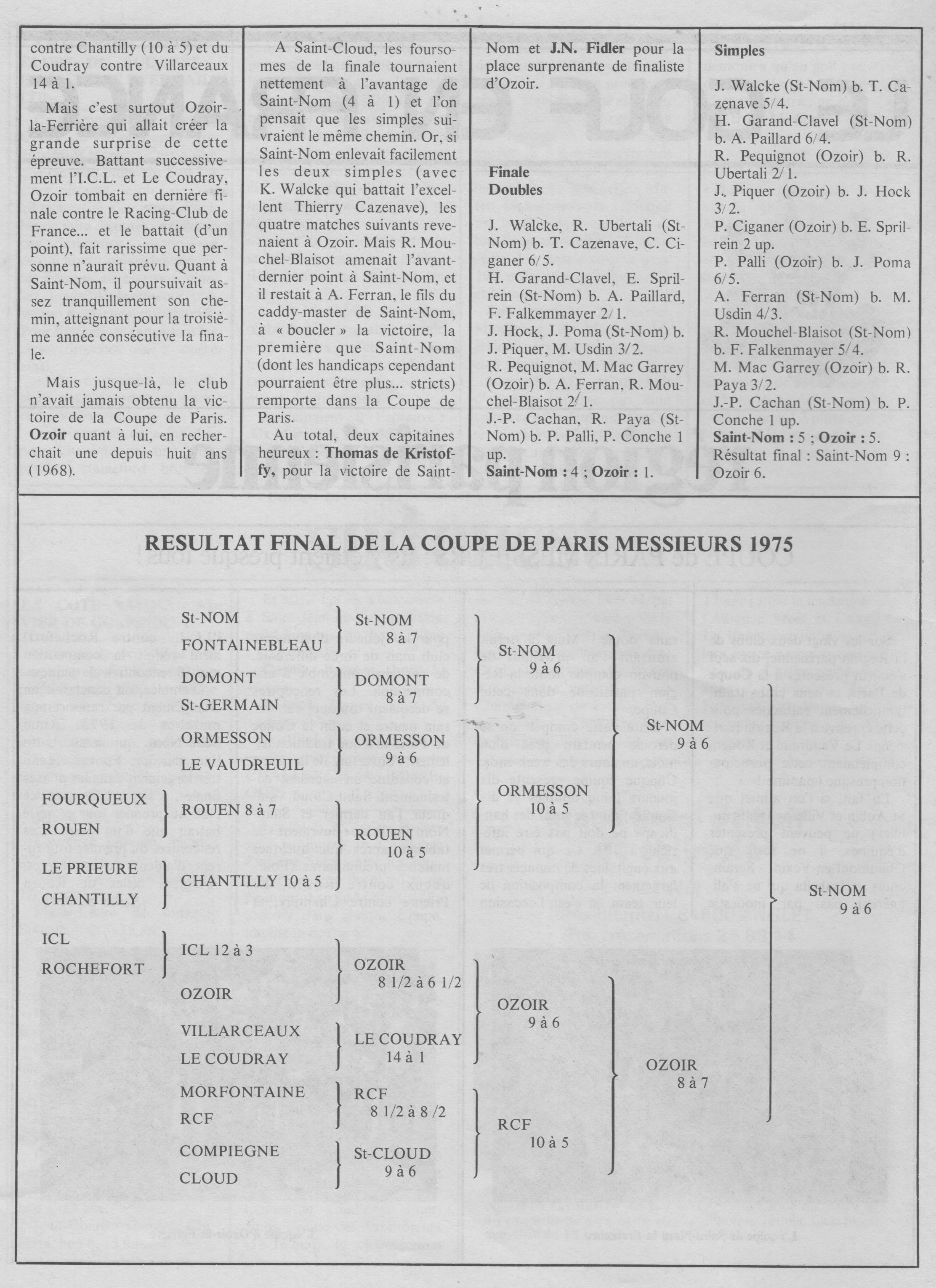 Ozoir finaliste Coupe de Paris Messieurs 1975 2